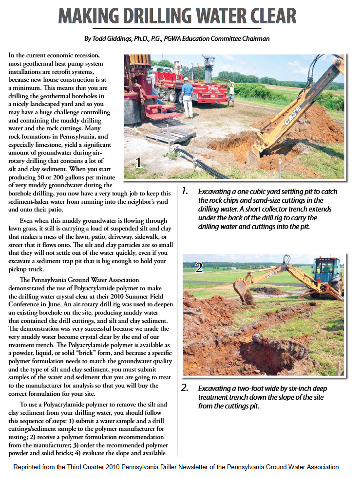 Making Drilling Water Clear front page
